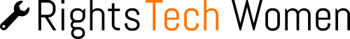 RightsTech Women logo, black and orange, with wrench image