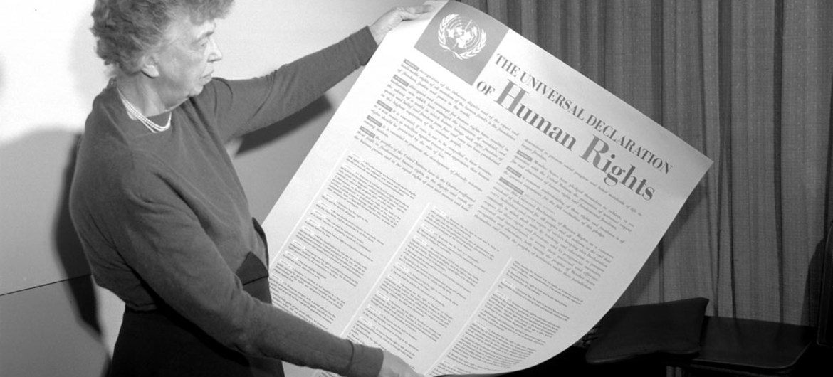 Eleanor Roosevelt reads the Universal Declaration of Human Rights.