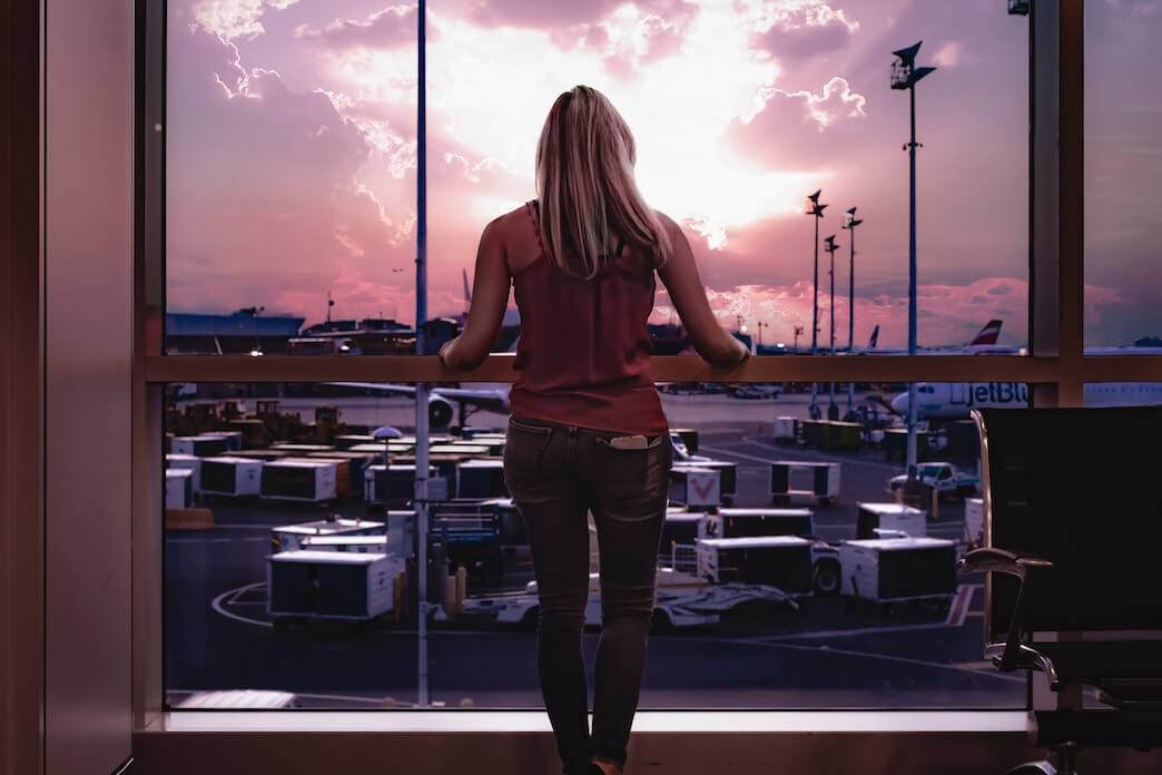 Woman standing at the airport