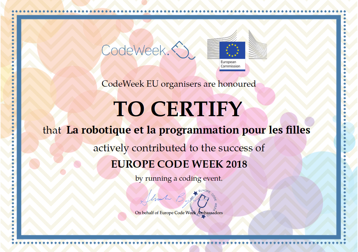 Europe Code Week - a certificate of contribution